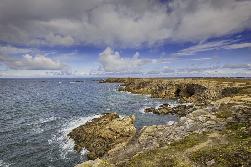 Коут Sauvage, западный берег полуострова Quiberon стоковая фотография