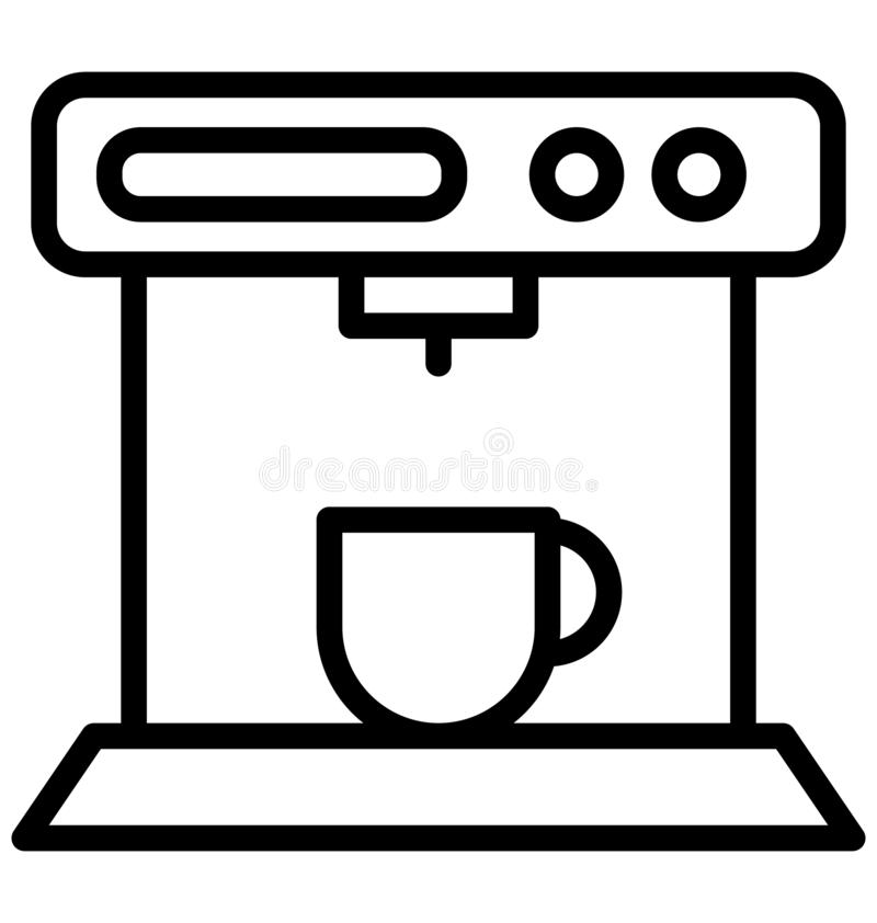 Кофеварка, значок вектора создателя эспрессо изолированный который можно легко редактировать в любом размере или дорабатывать бесплатная иллюстрация
