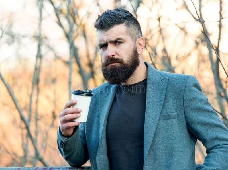кофеин дает ему энергию Человек-медведь наслаждается кофе осенним утром Предприниматель держит чашку горячего энергетического нап стоковые фотографии rf