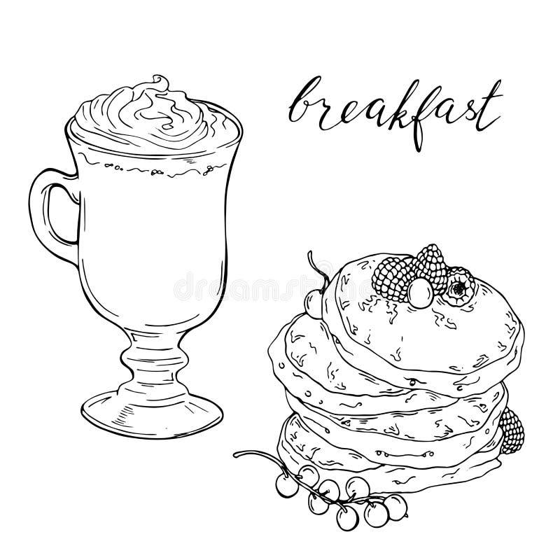 Кофейная чашка и блинчик с ягодами также вектор иллюстрации притяжки corel иллюстрация штока