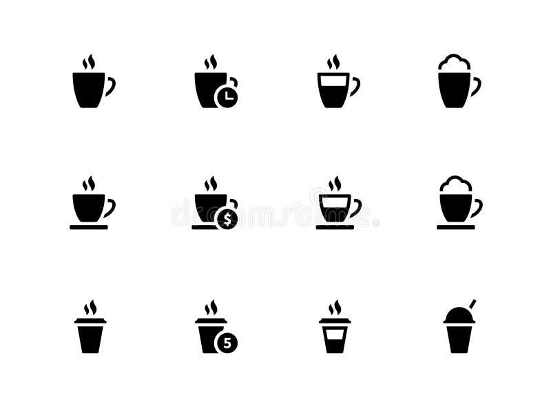 Кофейная чашка и чай mug значки на белой предпосылке. иллюстрация вектора