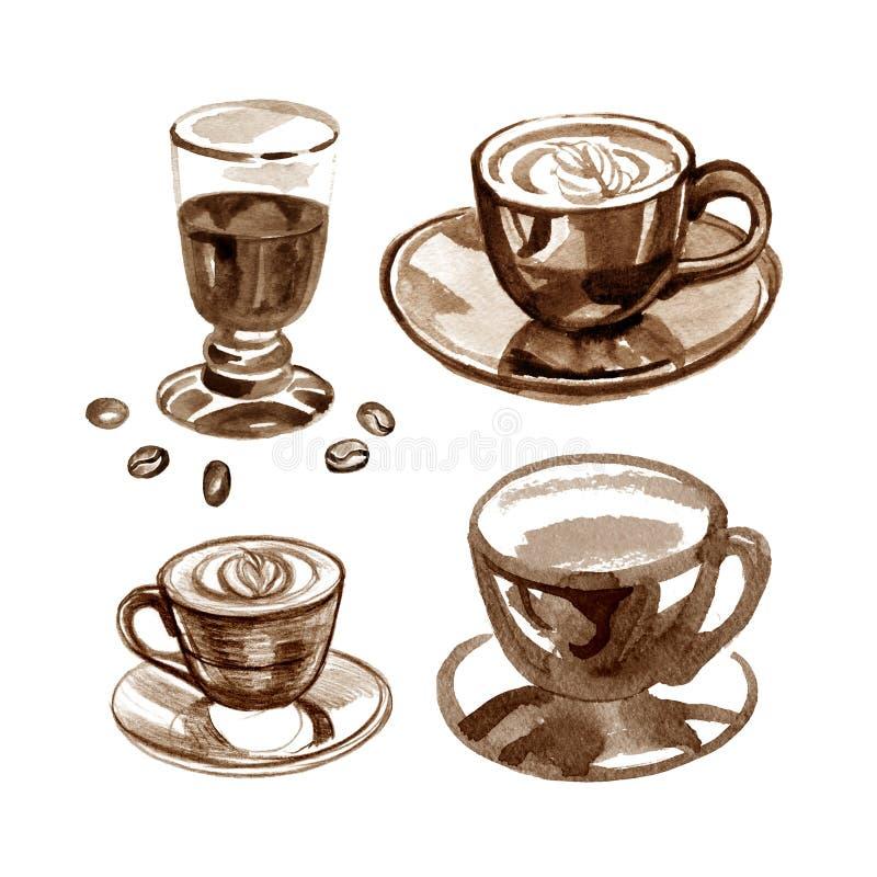 Кофейная чашка покрашенная с акварелями на белой предпосылке иллюстрация штока