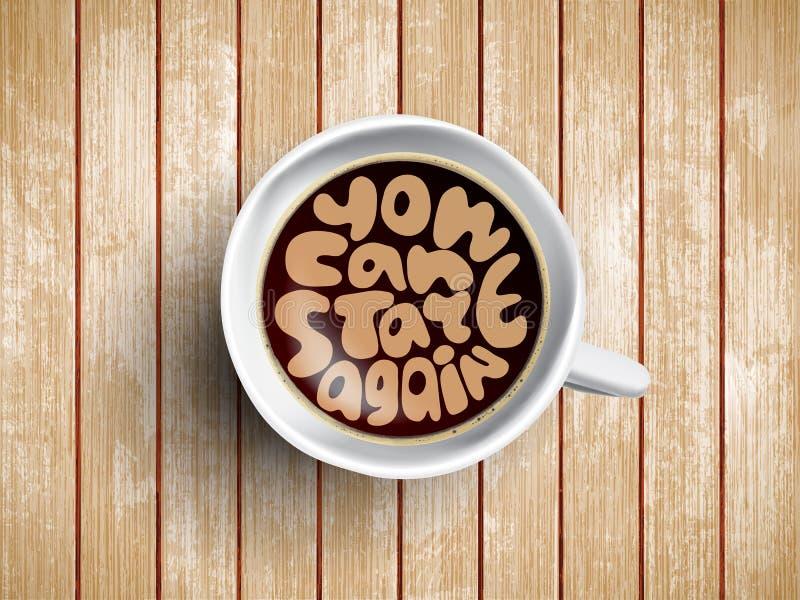 Кофейная чашка при время помечая буквами вас может начинать снова на реалистической деревянной предпосылке Капучино сверху с стоковые изображения rf