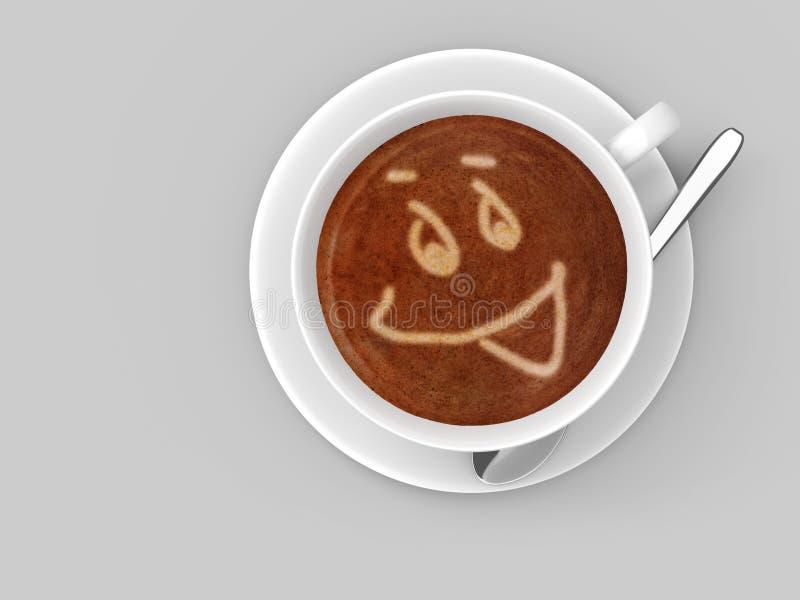 Кофейная чашка сидя на поддоннике при сторона smiley нарисованная в пенообразном latte иллюстрация вектора