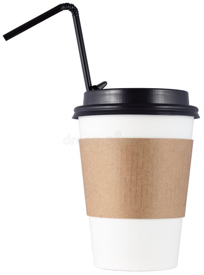 Кофейная чашка с коктейльной соломы, изолированная на белом фоне стоковые фото