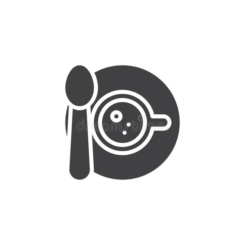 Кофейная чашка с ложкой и поддонник vector значок бесплатная иллюстрация