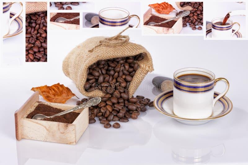 Кофейная чашка с мешком кофейных зерен на белой предпосылке стоковое фото rf
