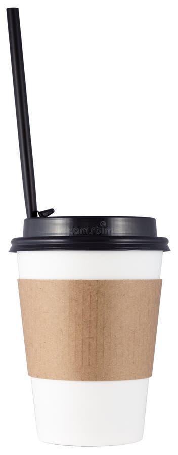 Кофейная чашка с прямогонным коктейлем или соломы, изолированная на белом фоне стоковое изображение