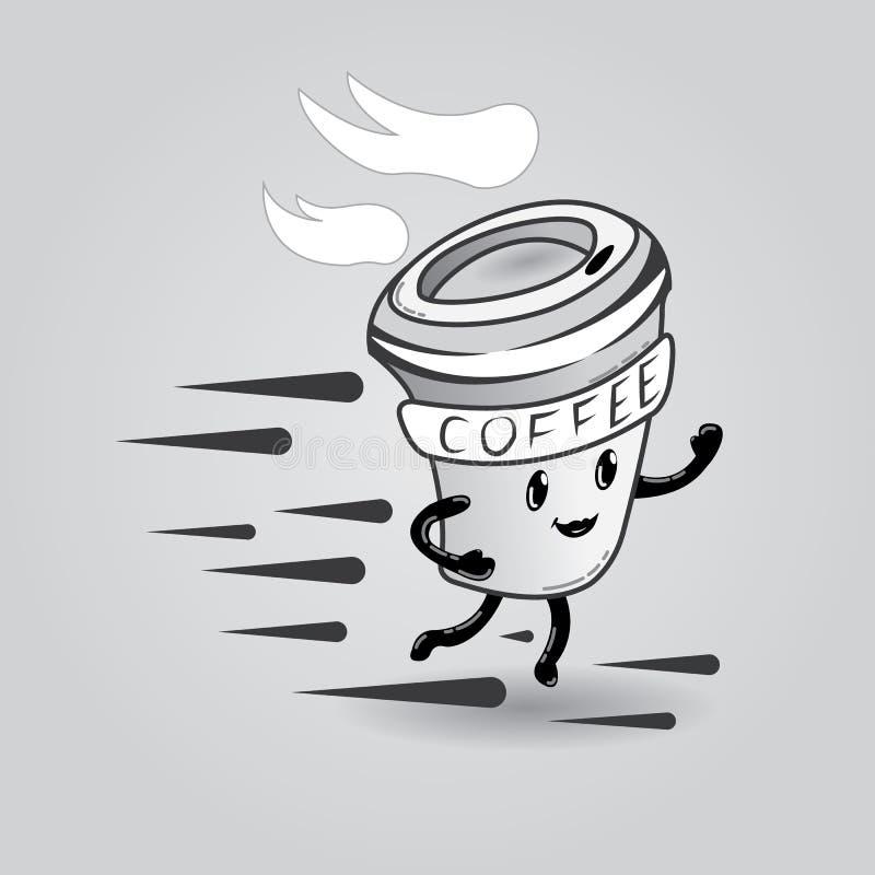 Кофейная чашка шаржа, который нужно пойти стоковые изображения rf