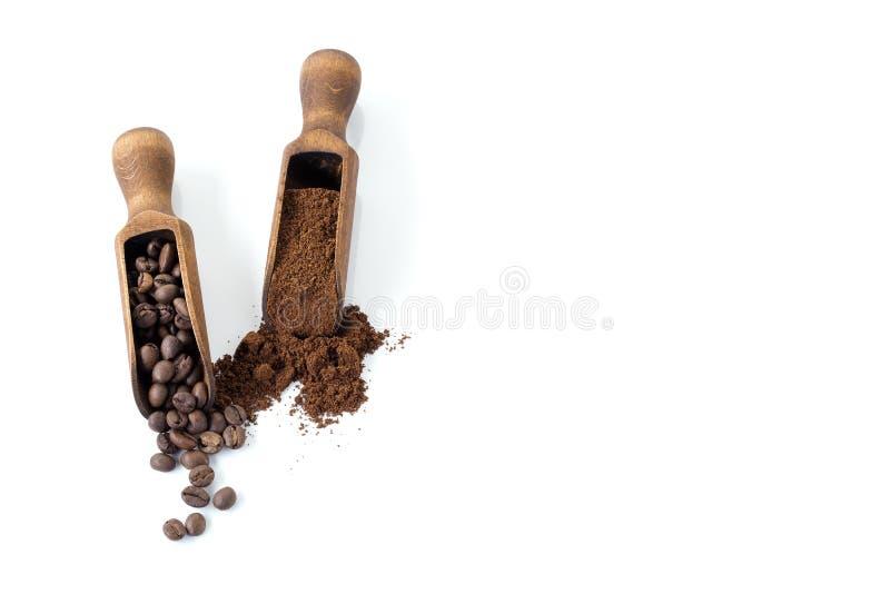 Кофейное зерно и земля изолированные на белой предпосылке скопируйте космос стоковая фотография