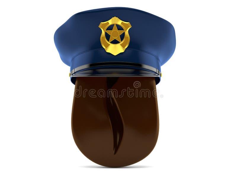 Кофейное зерно со шляпой полиции бесплатная иллюстрация