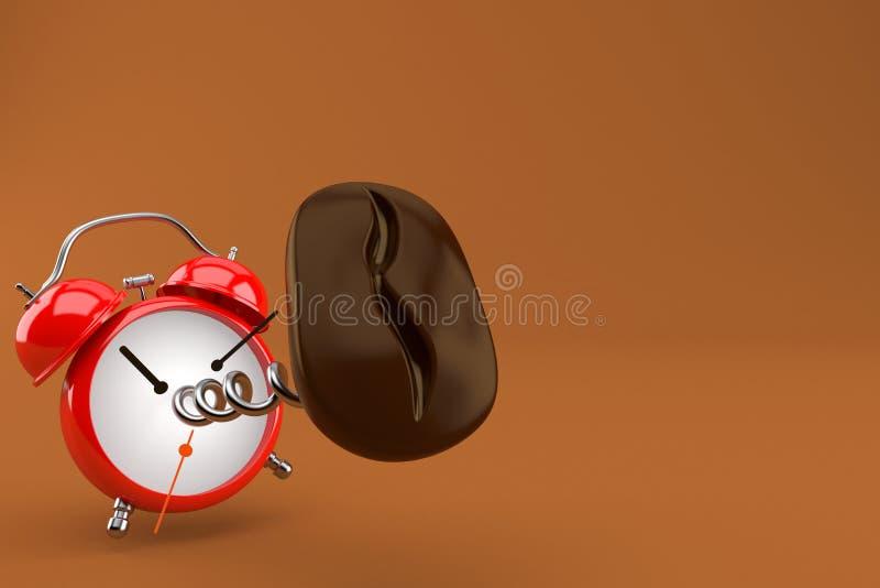 Кофейное зерно с будильником иллюстрация штока