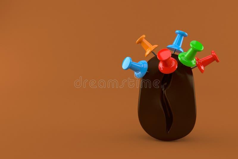 Кофейное зерно с канцелярскими кнопками иллюстрация вектора
