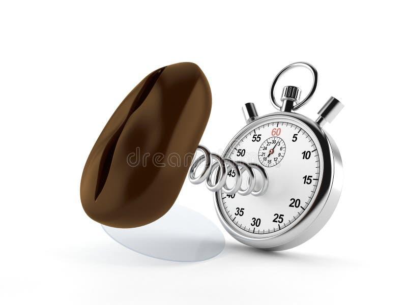 Кофейное зерно с секундомером иллюстрация штока