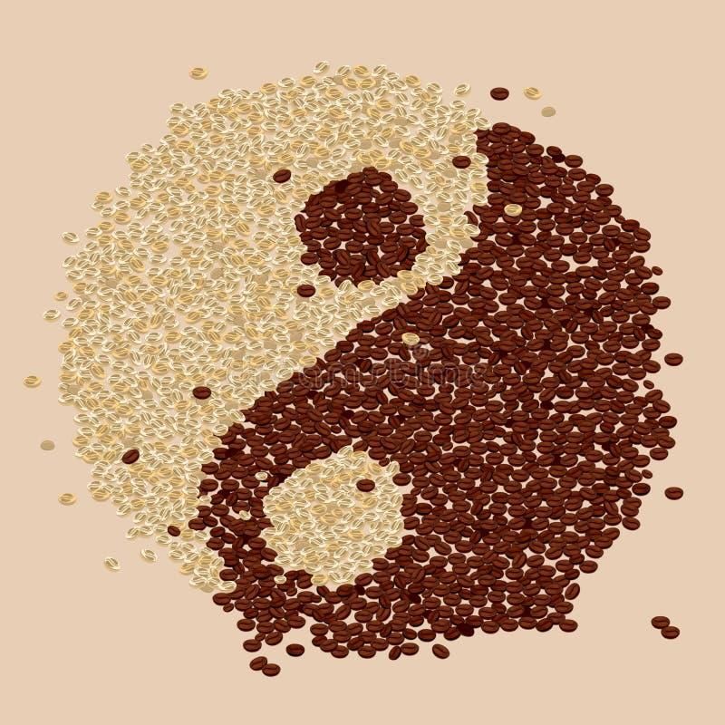 Кофейное зерно Yin-Yang иллюстрация вектора