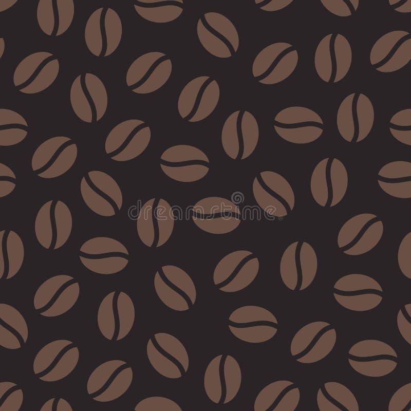 Кофейные зерна безшовная картина, предпосылка вектора Повторенная текстура темного коричневого цвета для меню кафа, упаковочной б иллюстрация штока