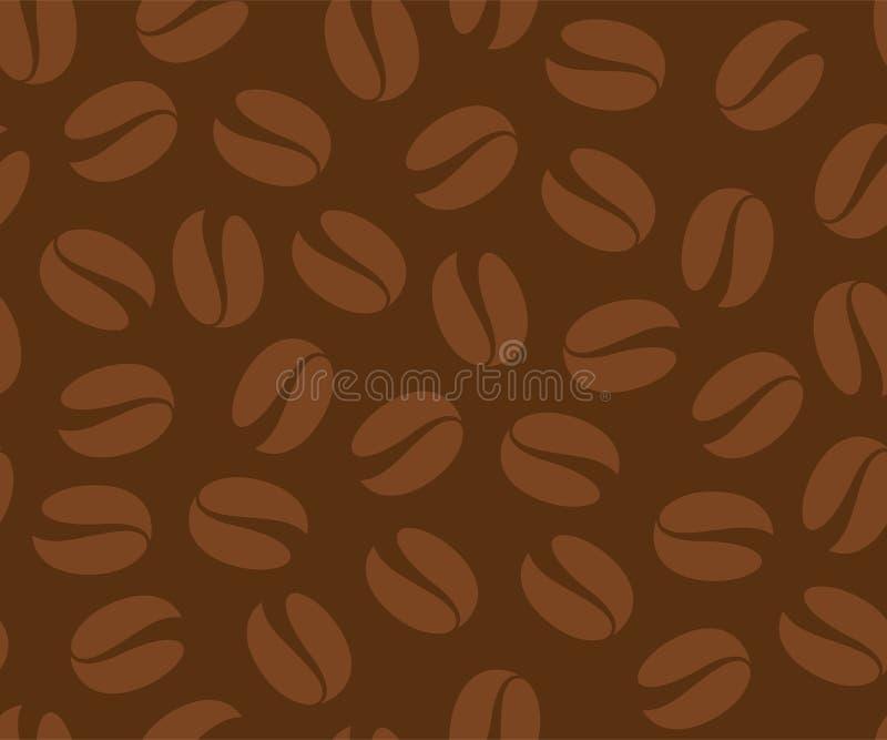 Кофейные зерна безшовная картина, предпосылка вектора Повторенная темная коричневая текстура для меню кафа иллюстрация вектора