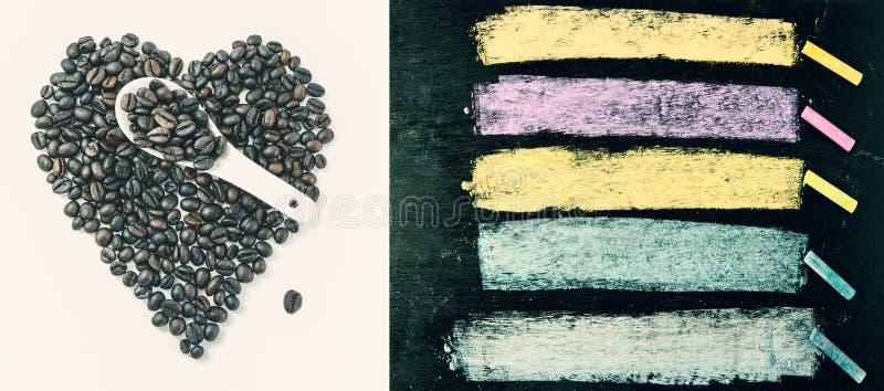 Кофейные зерна и красочные мел на предпосылке классн классного экземпляр стоковая фотография rf