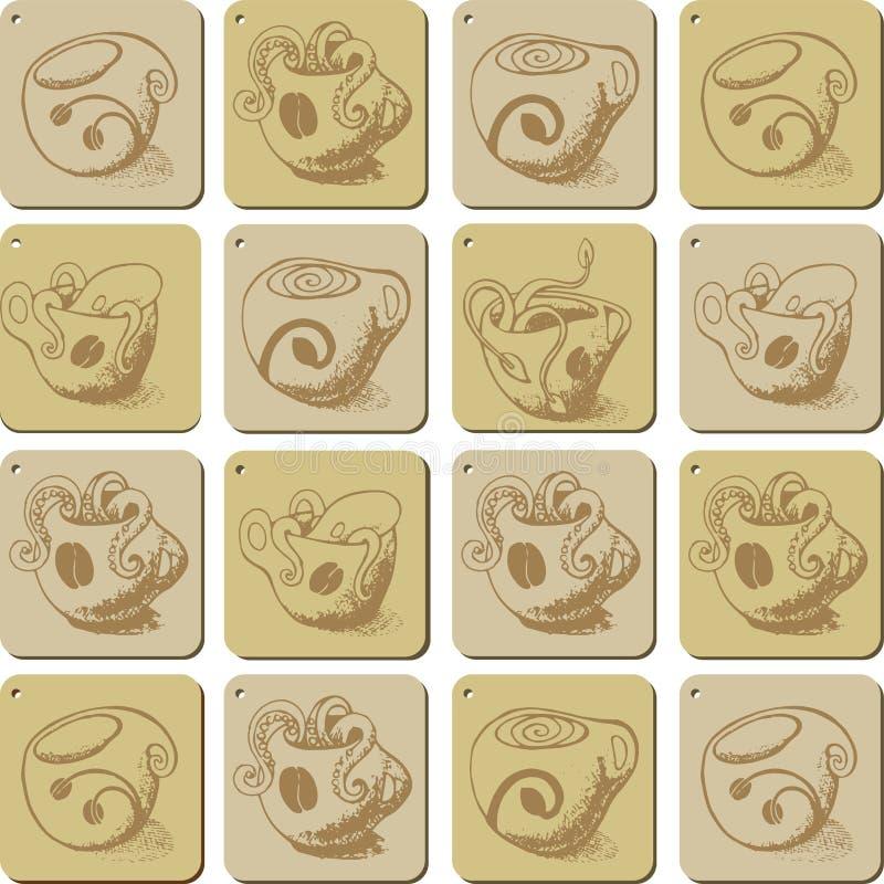 Кофейные чашки и чудовища которые живут там иллюстрация вектора