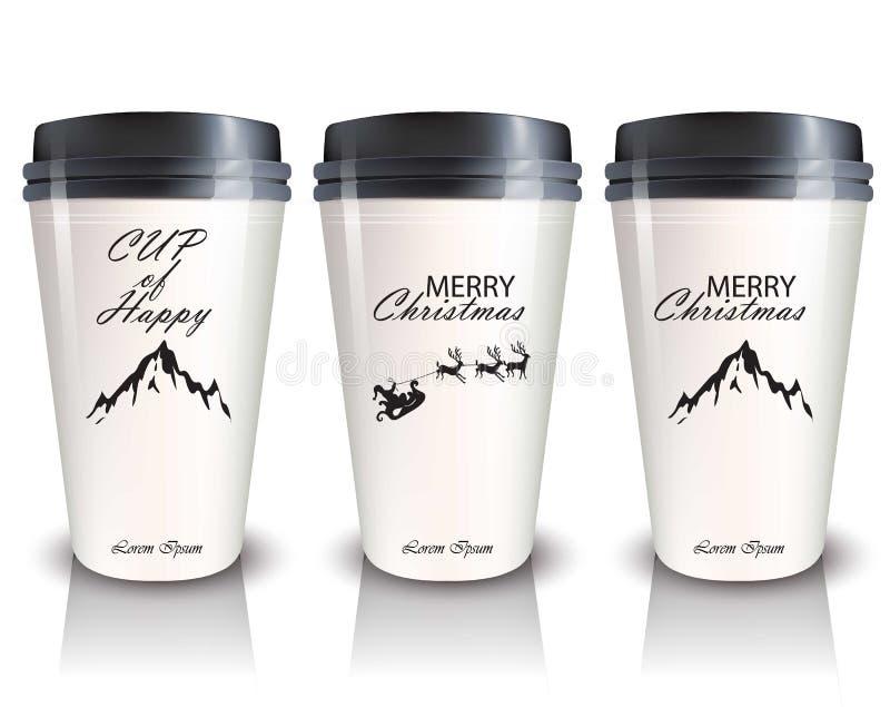 Кофейные чашки, который нужно пойти вектор Реалистическая насмешка вверх комплексные конструирования, дизайн логотипа иллюстрация штока