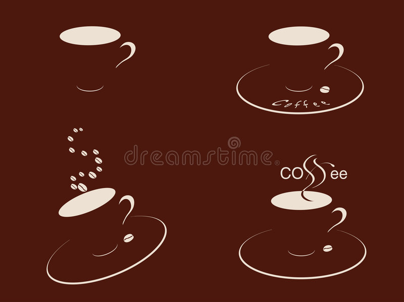 кофейные чашки braun иллюстрация штока