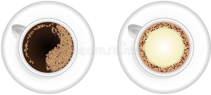 Кофейные чашки Espresso и капучино бесплатная иллюстрация