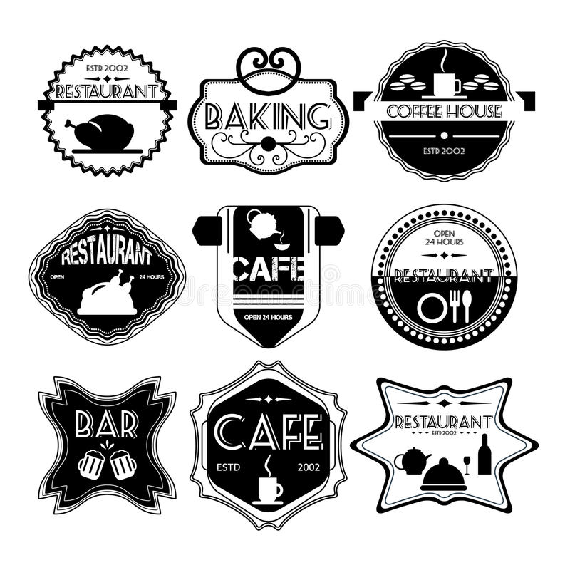 Кофейня, значки ресторана установленные ретро винтажные, ленты, ярлык иллюстрация штока