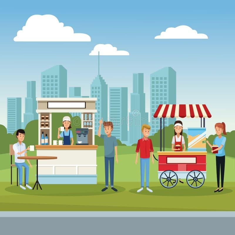 Кофейня и клиенты иллюстрация вектора