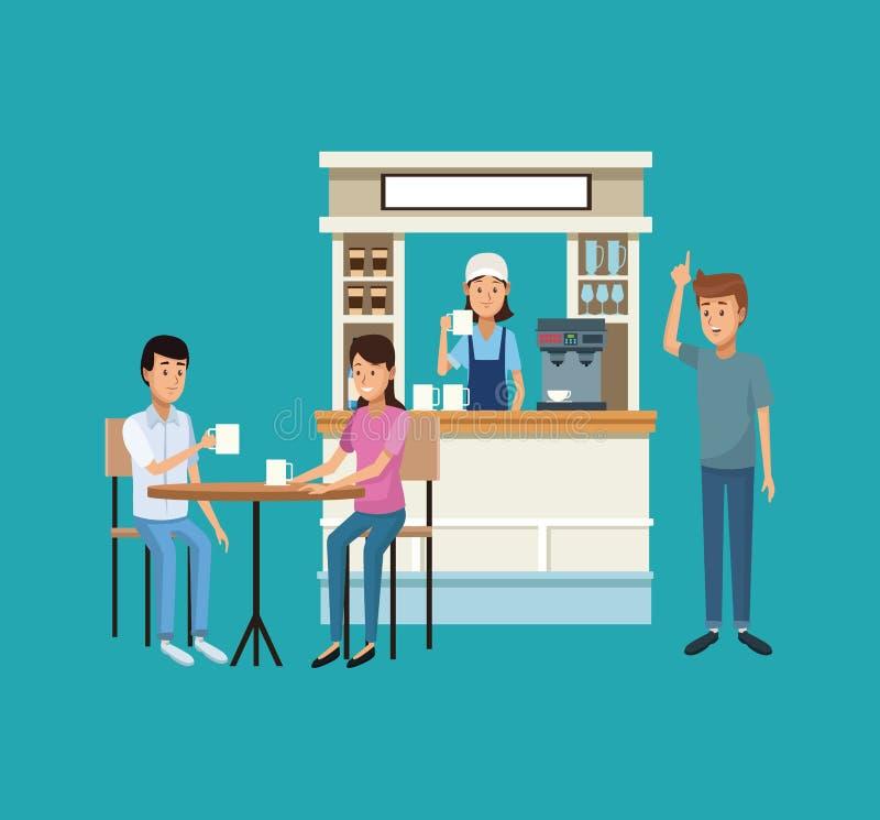 Кофейня и клиенты бесплатная иллюстрация