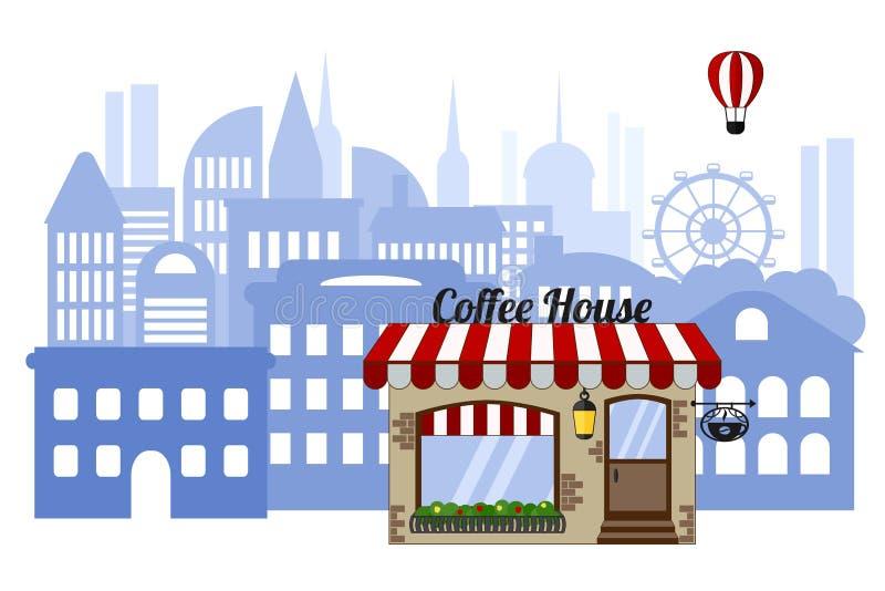 Кофейня на предпосылке города Городской пейзаж с воздушным шаром на белой предпосылке иллюстрация вектора