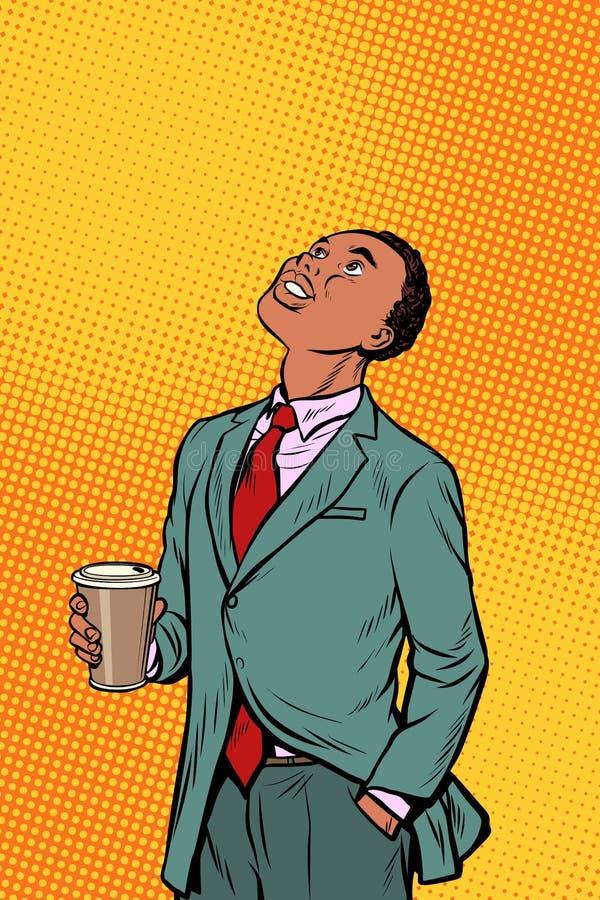 Кофе африканского бизнесмена выпивая и смотреть вверх бесплатная иллюстрация