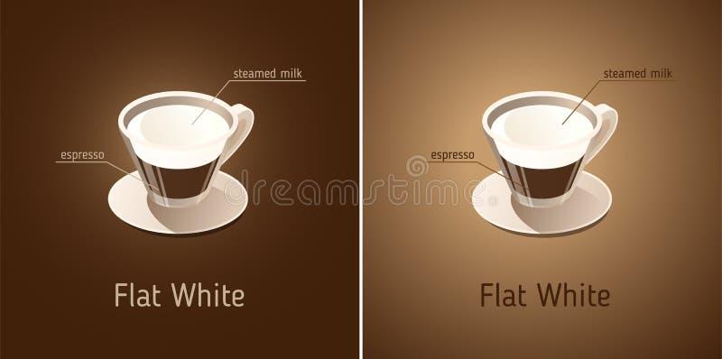 кофе белизна плоско Кофейная чашка с ингридиентами питья бесплатная иллюстрация