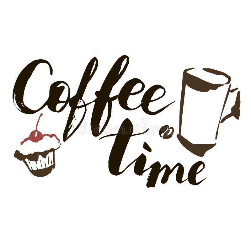 кофе больше времени Иллюстрация для дизайна, ткань нарисованного вручную вектора художническая, печатает Чашка кофе, торт и литер бесплатная иллюстрация