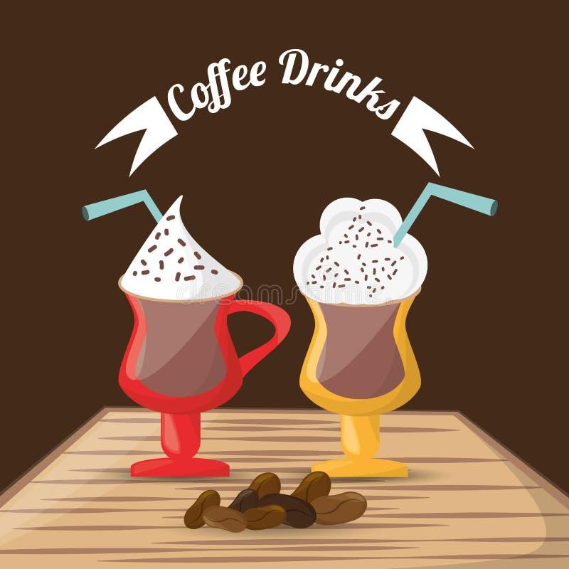 Кофе выпивает стеклянные фасоли пены чашки над таблицей иллюстрация вектора