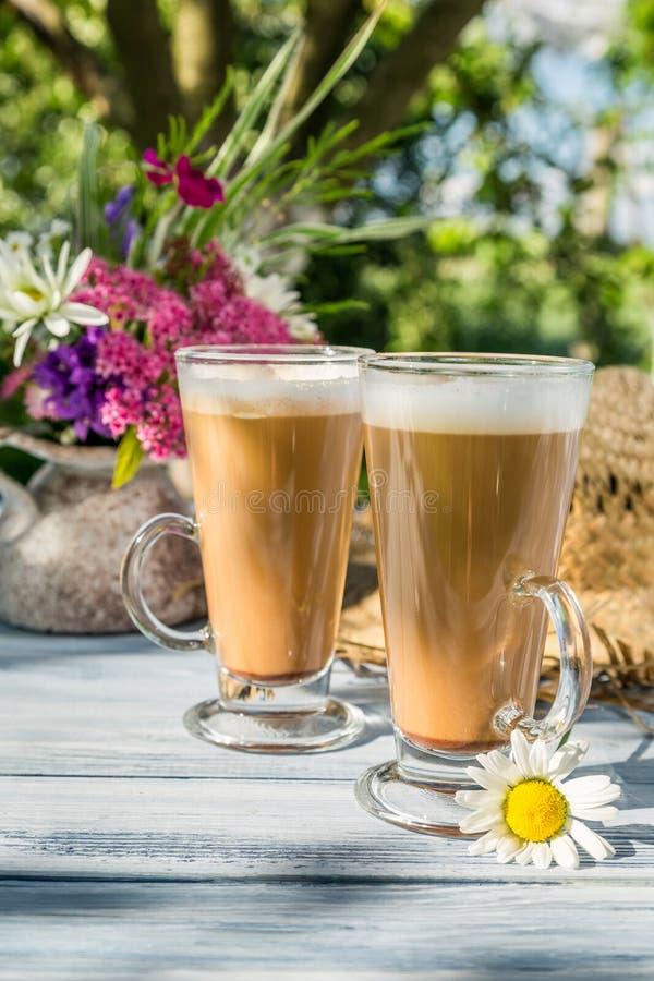 Кофе в солнечном саде лета стоковые фотографии rf