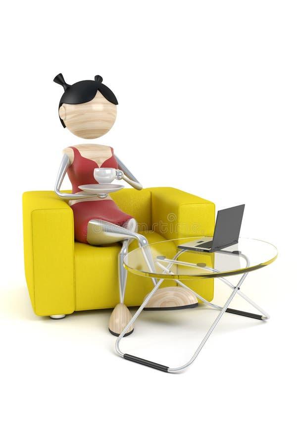 кофе имеет сидит женщина бесплатная иллюстрация