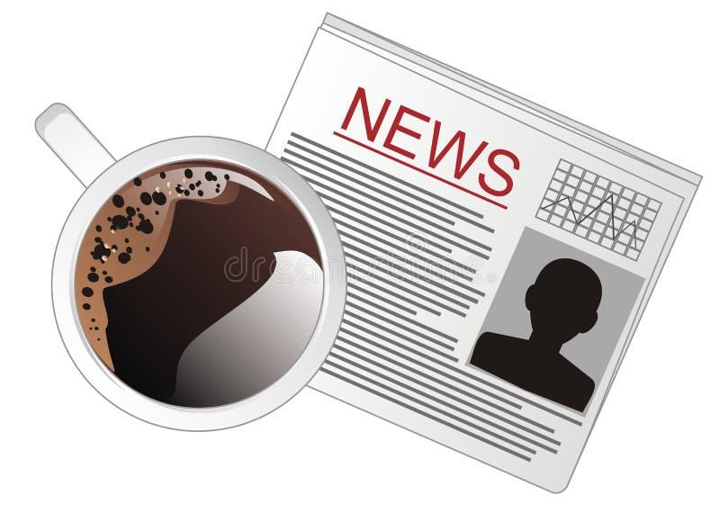 Кофе и газета иллюстрация штока