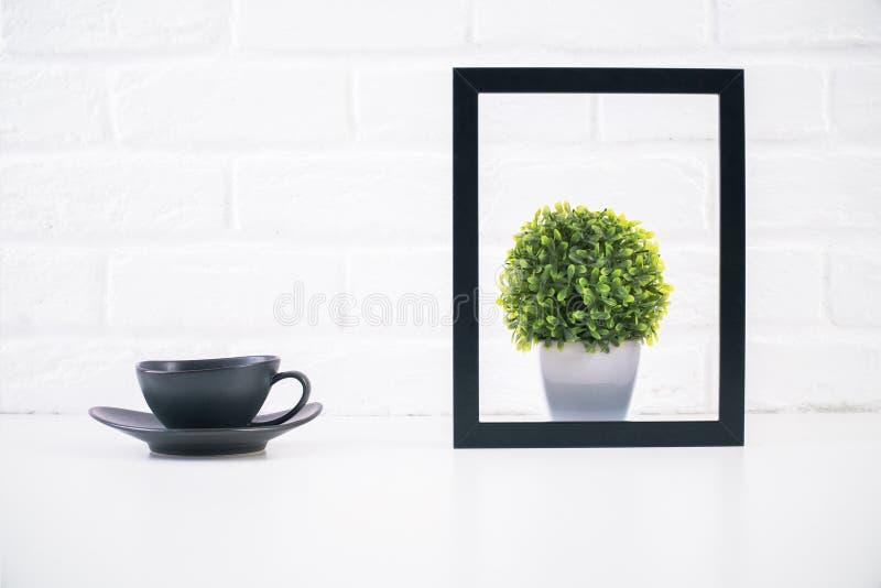 Кофе и завод внутри рамки стоковая фотография