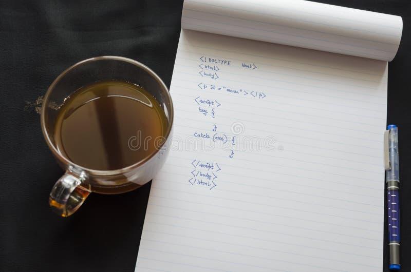 Кофе и кодирвоание стоковое фото rf