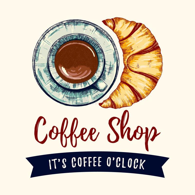 Кофе и круасант иллюстрация штока