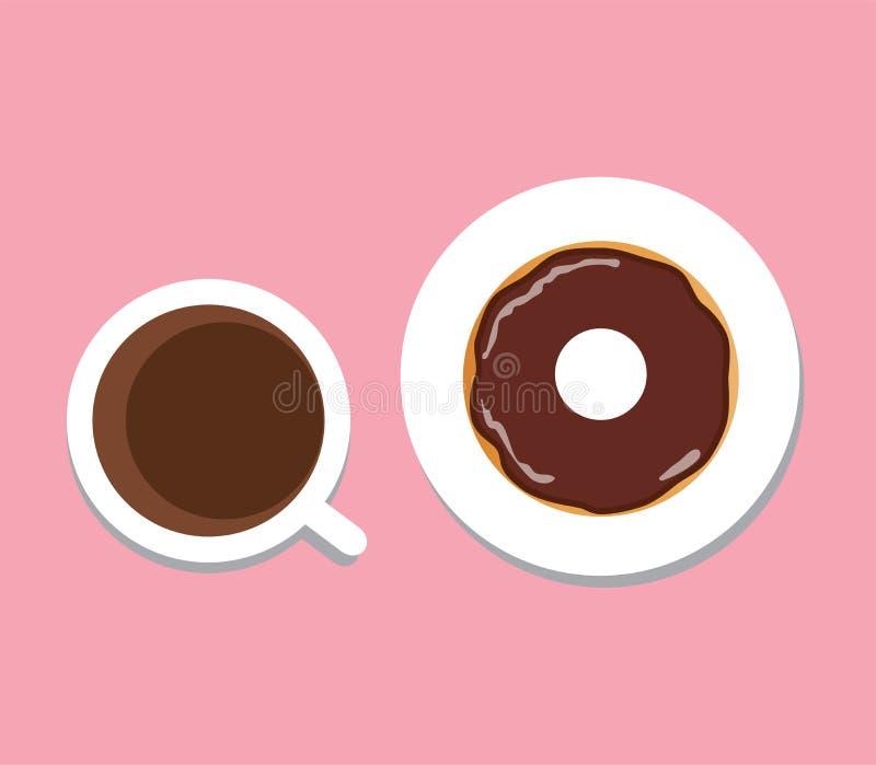 Кофе и донут вектора иллюстрация штока