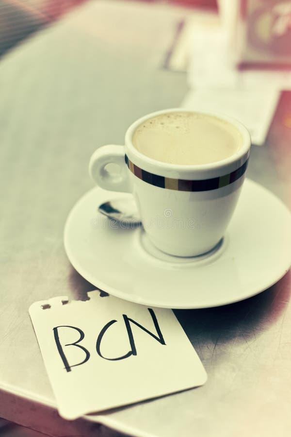 Кофе и слово BCN, для Барселоны, в примечании стоковые фотографии rf