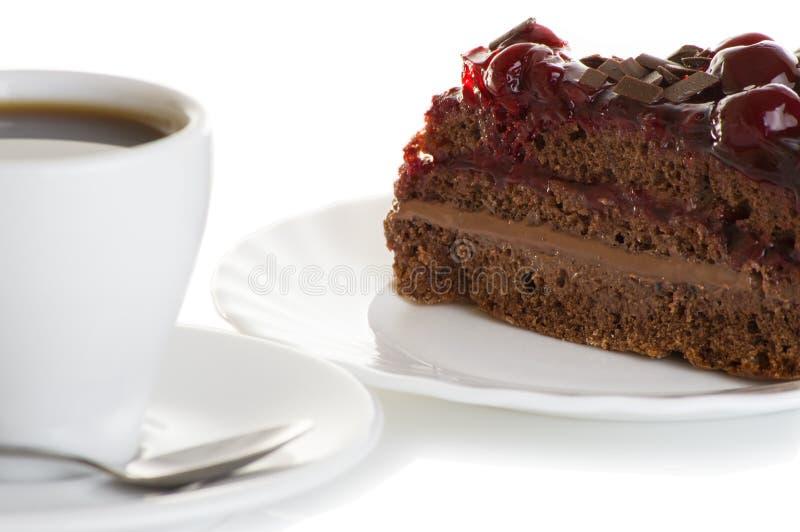 Кофе и торт с вишнями стоковые фото
