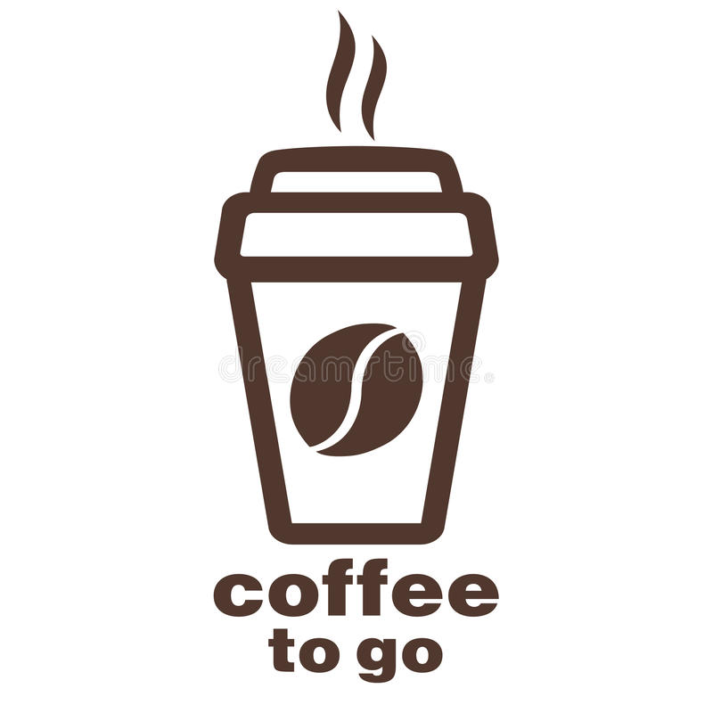 Кофе, который нужно пойти, стикер в окне, логотип вектора, значок сети, кнопка, ярлык, знак, восковка, pictograph Плоское линейно иллюстрация штока