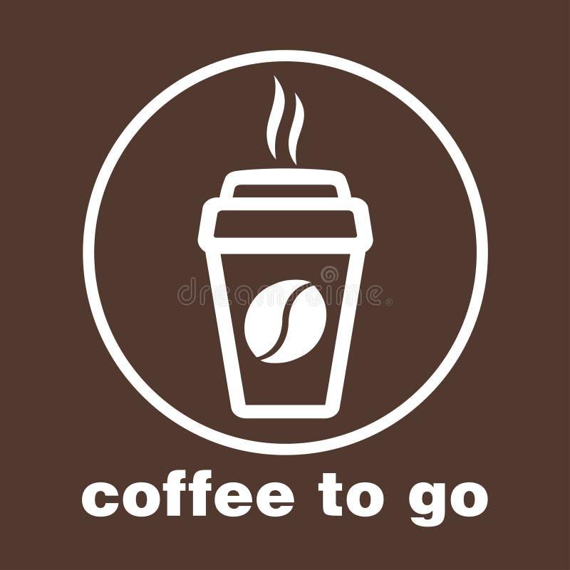 Кофе, который нужно пойти, стикер в окне, логотип вектора, значок сети, кнопка, ярлык, знак, восковка, pictograph Плоское линейно иллюстрация вектора