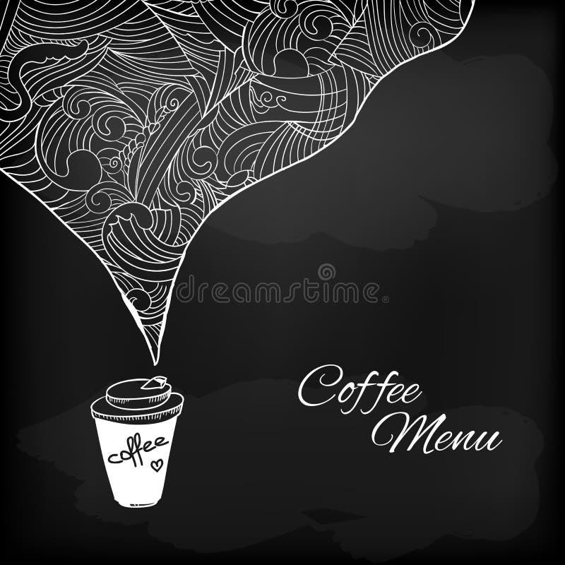 Кофе, который нужно пойти с украшением приправленным конспектом иллюстрация штока