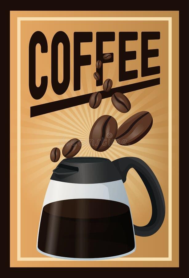 Кофе плаката цвета с линейным заревом и стеклянный опарник кофе с ручкой и фасолями иллюстрация штока