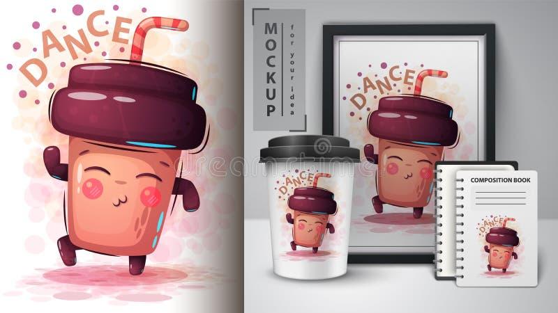 Кофе танца - модель-макет для вашей идеи иллюстрация штока