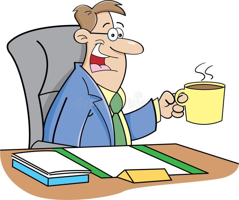 Кофе человека шаржа выпивая иллюстрация вектора