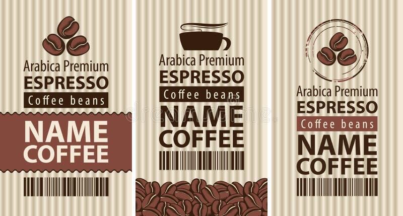 Кофе ярлыка с кофейными зернами и чашкой иллюстрация штока